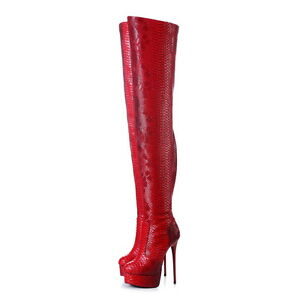 Giaro GALANA Red Snakeskin Thigh High Boots