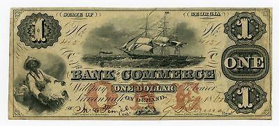 1861 $1 The Bank of Commerce - GEORGIA Note CIVIL WAR Era w/ SHIPS + SLAVES