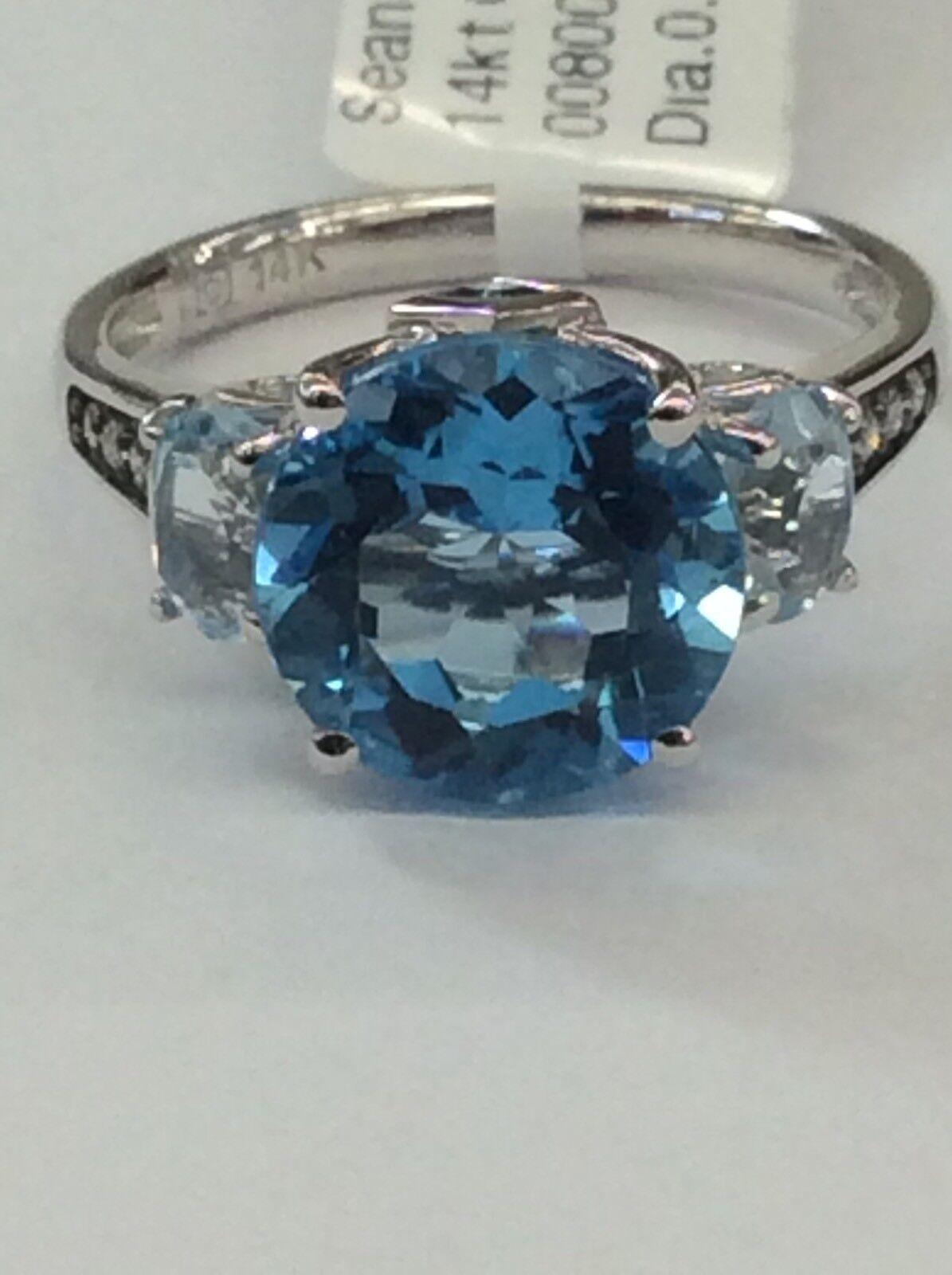 14 Kt White Gold 2.5 cts Swiss Blue Topaz and Diamond Pendant P8568