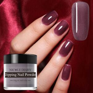 NICOLE-DIARY-Purple-Glazed-Dipping-Powder-Acrylic-Tips-Nail-Art-No-UV-Gel-ND-K09