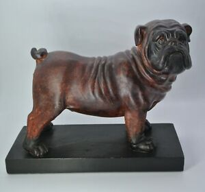 English Bulldog Bookends Sculpture Statue ~ Vintage Artistic Dog Figurine Decor