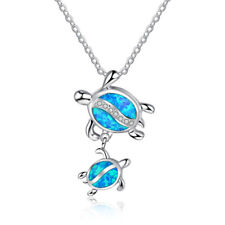 Slippers Ocean Blue Fire Opal Inlay Silver Jewelry Necklace Pendant