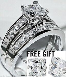 Sterling-Silver-14k-White-Gold-Princess-Diamond-cut-Engagement-Ring-Wedding-Set