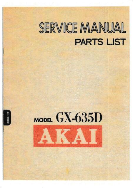 AKAI GX-635D//DB REELTO REEL TAPE DECK OPERATOR/'S MANUAL FREE SAME DAY SHIPPING