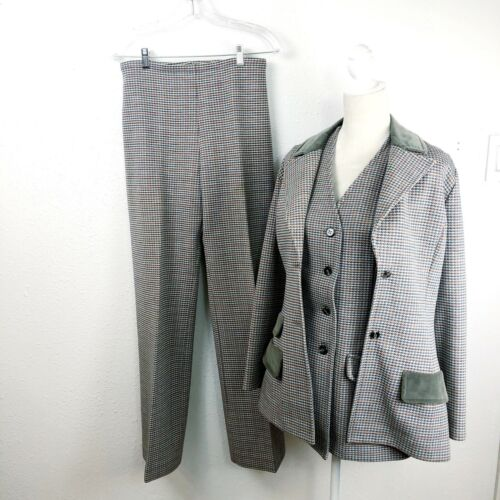 Vintage Jantzen Womens 3 Piece Pants Suit Plaid Po
