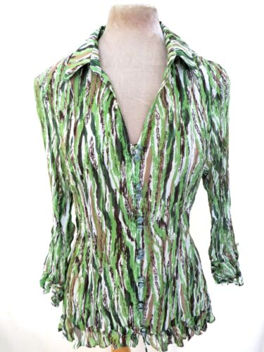 Ruffle Frilled Shirt Sheer Blouse Pleated Corertina 18 Crinkle Accordion Green gR6xqYTw