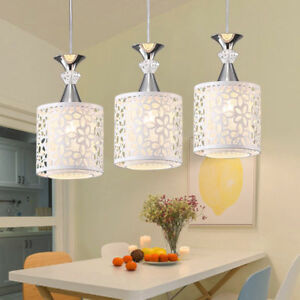 Image Is Loading Modern Crystal Iron Ceiling Light Pendant Lamp Dining