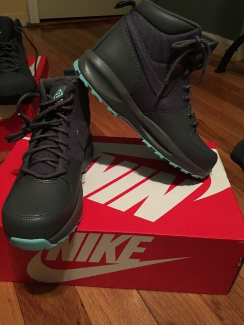 best website 89692 7db9e nike acg manoa boots Grey-Turquoise Blue Sz 4y 859412 001