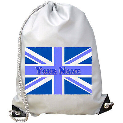 BLUE UNION JACK GB FLAG PERSONALISED GYM BOY/'S GIFT /& NAMED PE// SWIMMING BAG