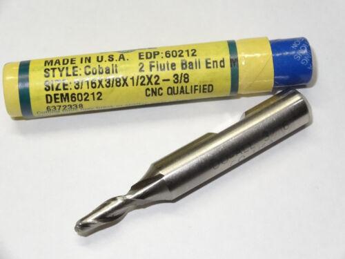 """DOALL GREENFIELD 3//16/"""" x 3//8/"""" 2 Flutes Cobalt Ball Nose End Mill endmill USA"""