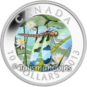 Canada-2013-Dragonfly-Twelve-Spotted-Skimmer-10-Hologram-Pure-Silver-Prf-in-OGP