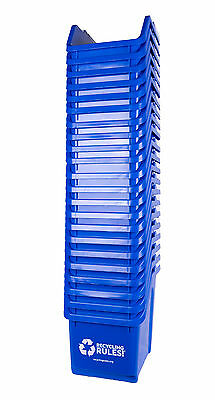 Stackable Blue Recycling Bin Container 6 Gallon Multi-Recycler 4 Pack of Bins