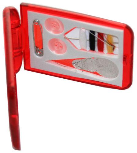 Reisenähset Näh-Set Nähkorb Garnset Nähset Dordrecht 6-tlg rot mit Spiegel