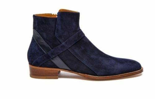 botas para hombre Hecho a Mano Azul Marino Pantalones ropa formal al tobillo con cremallera lateral Zapatos informales