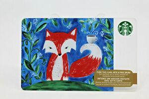 Starbucks-Coffee-2015-Gift-Card-Little-Red-Fox-Mug-Cup-Green-Leaves-Zero-Balance