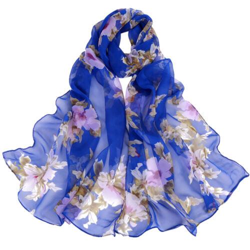Femmes Foulard en mousseline de soie Peach Blossom Impression Long Wrap écharpe châle Foulards
