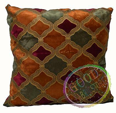 Mc02a Wine Red Plated Gold Orange Pale Olive Cotton Velvet Style Cushion Cover