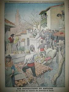 ESPAGNE-SEVILLE-INONDATIONS-VISITE-DU-ROI-AUX-SINISTReS-LE-PETIT-JOURNAL-1912