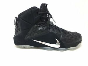 Nike-Lebron-XII-12-EXT-Mens-Black-Rubber-City-Basketball-744286-001-Shoes-Size-9