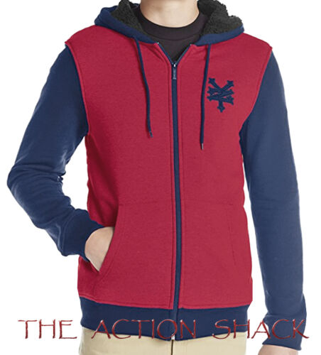 NWT Mens Large Red Navy #27987-A8 Zoo York Sherpa Lined Hoodie R1113
