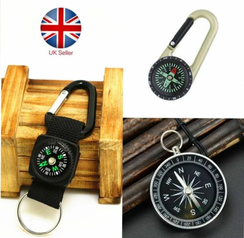 Compass Thermometer Outdoor Hiking Tactical Survival Carabiner Key Ring Belt