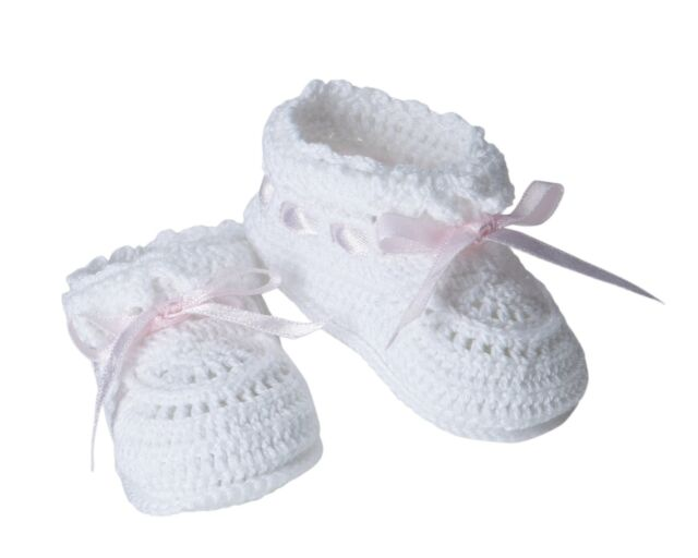 Jefferies Socks Baby Girls Hand Crochet Bootie Whitepink Newborn