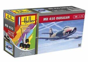 Avion MD 450 Ouragan Maquette a monter Heller France echelle 1:72+colle,peinture