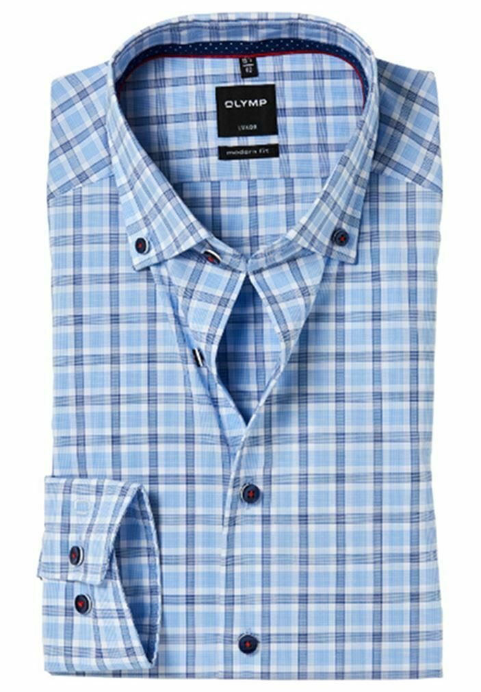Blue Mix Check Contrast Button-Down