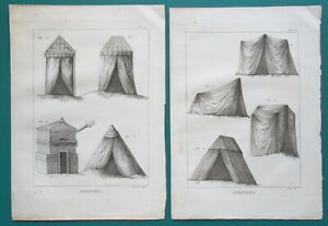 ROMAN-ARMY-amp-Barbarian-Military-Tents-2-Two-1804-Copperplate-Prints