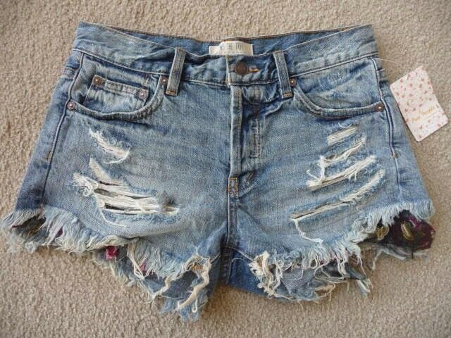 NWT Free people Embroidered & destroyed Shorts Retail  88