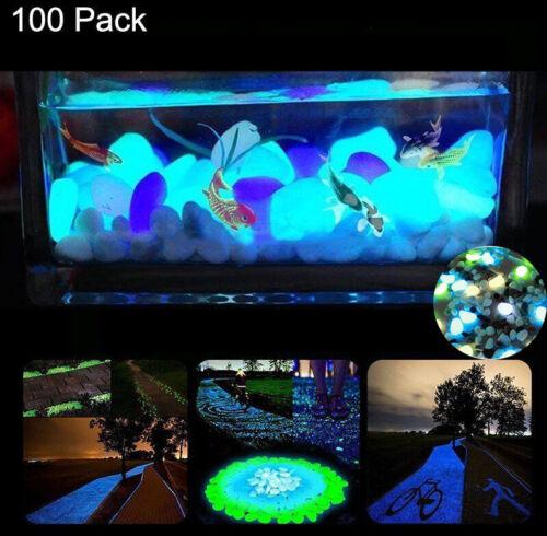 100x Glow in the dark Pebbles Stones Fish Tank Home Garden Aquarium Decor Hot