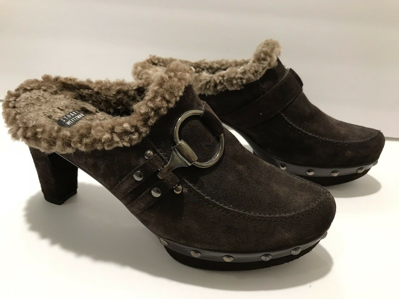 Stuart Weitzman Pumps Mules Clogs Warm Real Fur Heel Suede Brown 8.5 M Nice