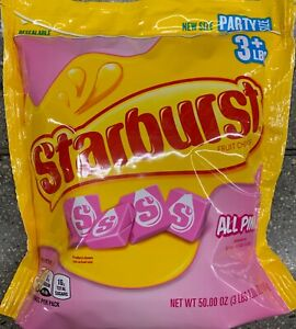 NEW-PARTY-SIZE-STARBURST-FRUIT-CHEWS-STRAWBERRY-ALL-PINK-CANDY-50-OZ-1-4kg-BAG