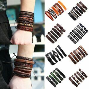 Fashion-Mens-Punk-Leather-Wrap-Braided-Wristband-Cuff-Bracelet-Bangle-Jewelry