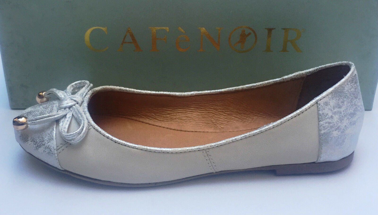 Cómodo y bien parecido Descuento por tiempo limitado CAFè NOIR Zapatos planos de mujer piel De Blanco/Nube De plata con fiocchetto