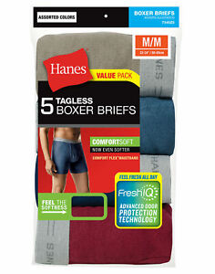 Hanes-5-Pack-Men-039-s-Underwear-Tagless-Boxer-Briefs-Assorted-Solid-Colors-amp-Bands