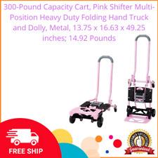 300lbs Capacity Cart Pink Shifter Multi Position Heavy Duty Folding Hand Truck
