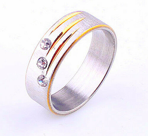 Titanium 316L Stainless Steel Ring CZ Inlay Engagement Wedding SZ 7-11 Valentine