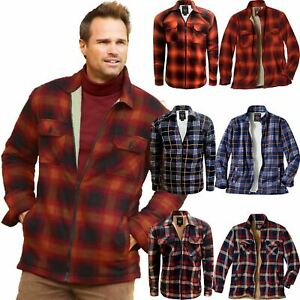 Camisa-para-Hombre-Acolchado-Sherpa-Polar-Forrado-Lumberjack-Chaqueta-De-Franela-De-Trabajo-Calido-S