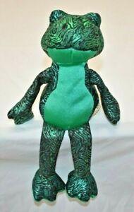 Sand Filled Stuffed Animals, Sand Filled Plush Frog Metallic Green And Black Stuffed Animal Euc Ebay