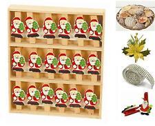 BOX N.18 MOLLETTE in LEGNO BABBO NATALE e ALBERO per DECORO o SEGNAPOSTO AT-2367