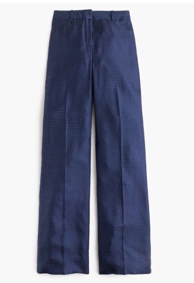 New J Crew Collection Wide-leg Pant in Polka Dot bluee Sz 6 G8645
