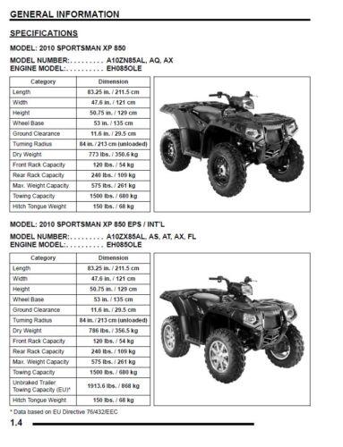 Polaris 2010 ATV Sportsman XP 850 Touring service manual in binder EPS