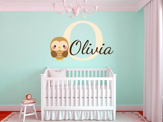 Baby Owl Name Monogram Boys and Girls Nursery Room Vinyl Wall Decal 28  Tall