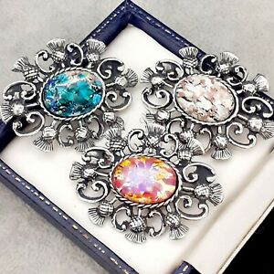 3X-Vintage-Pink-White-Green-Glass-Fire-Opal-Celtic-Scottish-Thistle-Brooches