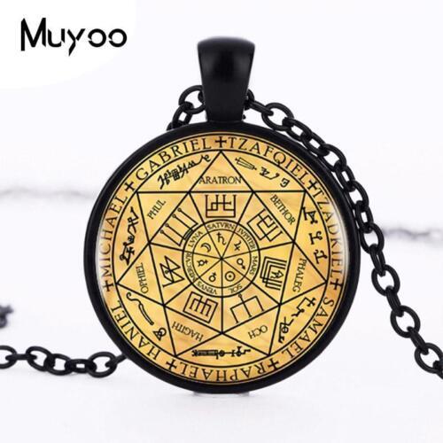 Sceaux des sept archanges collier pendentif noir tour de cou argent bronze acier