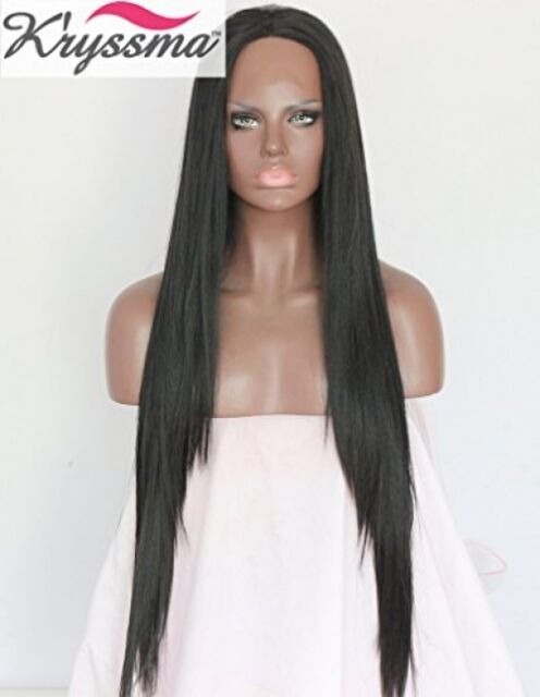 Kryssma Natural Looking Long Silky Straight Black Wigs Synthetic Lace Front Wig