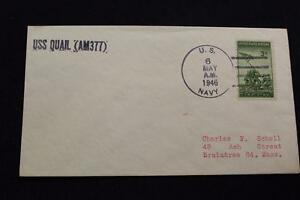 Marine-Abdeckung-1946-SCHIFFS-Name-Uss-Quail-AM-377-4281
