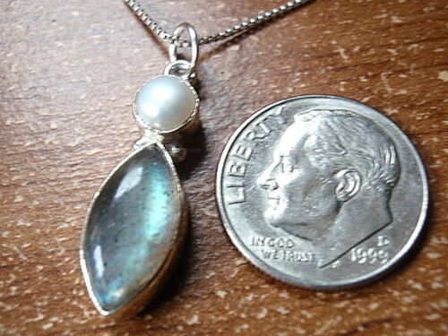 Labradorite Pearl Pendant 925 Sterling Silver Marquise Round Double Gemstones