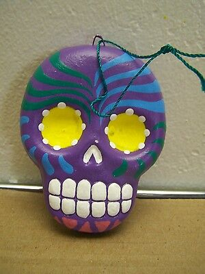 Day of the Dead Painted Flat Skull Ornament Peru Purple